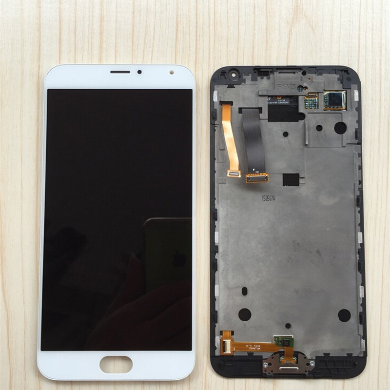 LCD Display Touch Digitizer Screen Glass Assembly + Frame White for Meizu MX5